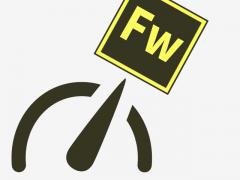 Tachometer-Nadel zeigt auf das Fireworks-Logo