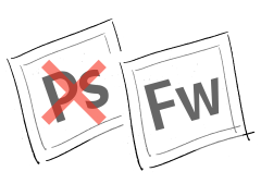 Illustration: Photoshop-Logo durchgestrichen, daneben das Fireworks-Logo