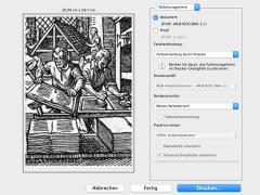 PC-Druckmenü zeigt Vorschaubild eines alten Stichs zum Buchdruck