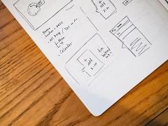 detaillierter Projektplan, handgezeichnet auf Papier