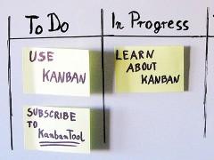 Ein Scrum-Kanban-Board