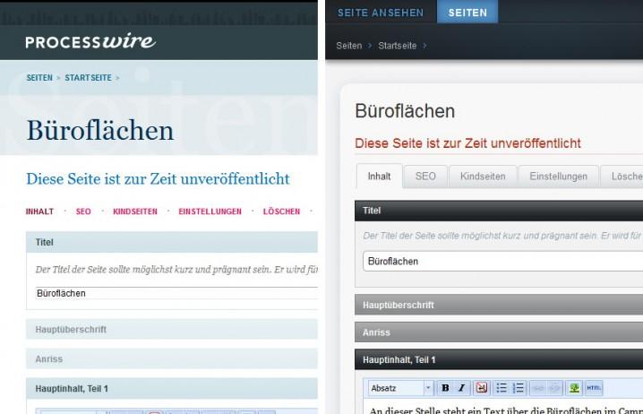 Vergleich des Original-Backend-Themes von ProcessWire mit dem Teflon Admin Theme
