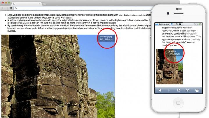 Bild in verschiedenen Größen auf dem Desktop und einem SmartPhone