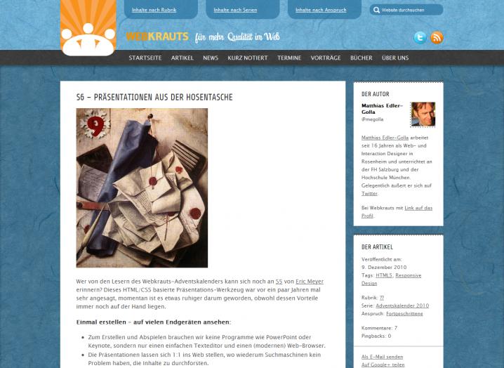 Screenshot einer Artikel-Seite