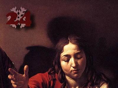 Gemälde (Ausschnitt): (Michelangelo Merisi da) Caravaggio, Das Abendmahl in Emmaus. 1601. National Gallery, London.