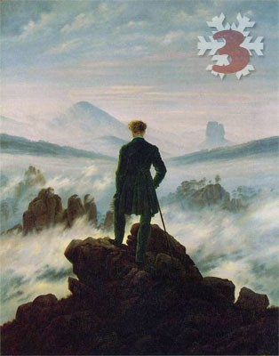 Gemälde: Caspar David Friedrich, Wanderer über dem Nebelmeer, 1818. Kunsthalle, Hamburg.