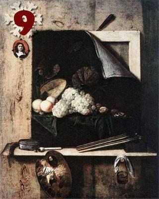 Gemälde: Cornelis Norbertus Gijsbrechts, Quodlibet, 1675. Wallraf-Richartz-Museum, Köln.