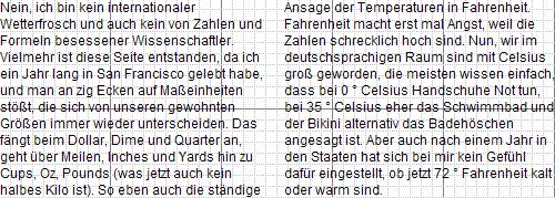 Opera 11 Screenshot - zweispaltige Darstellung über column-count: 3; column-width: 200px;