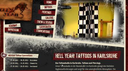 Screenshot der Webseite von Hell Yeah! Tattoos