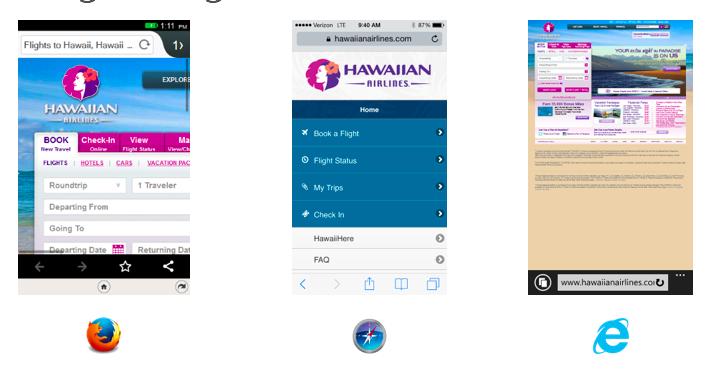 Eine Website in drei mobilen Webbrowsern angezeigt