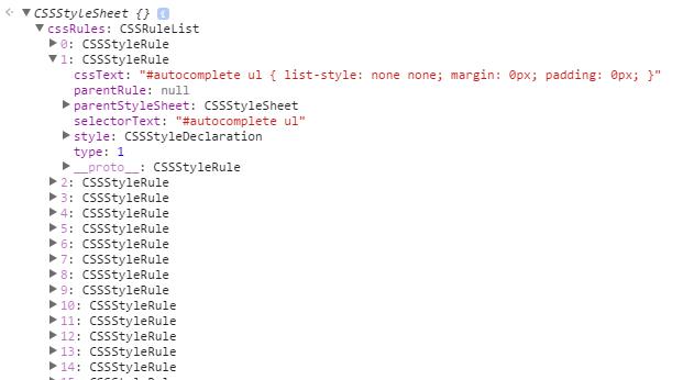 Darstellung des CSSOM in den DevTools mit aufgeklappten CSSRuleList