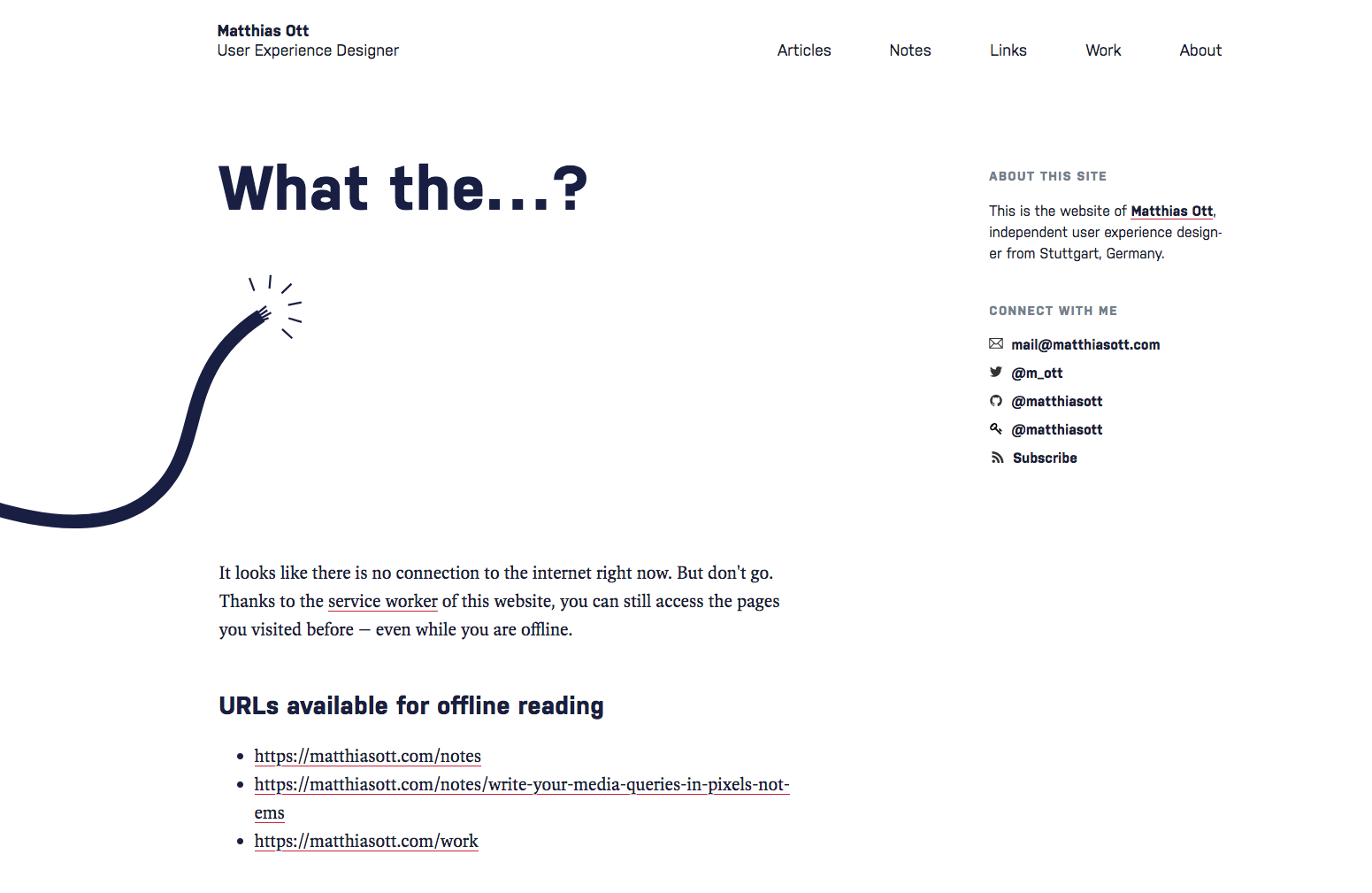 Screenshot: Eigene Offline-Fehlermeldung auf matthiasott.com