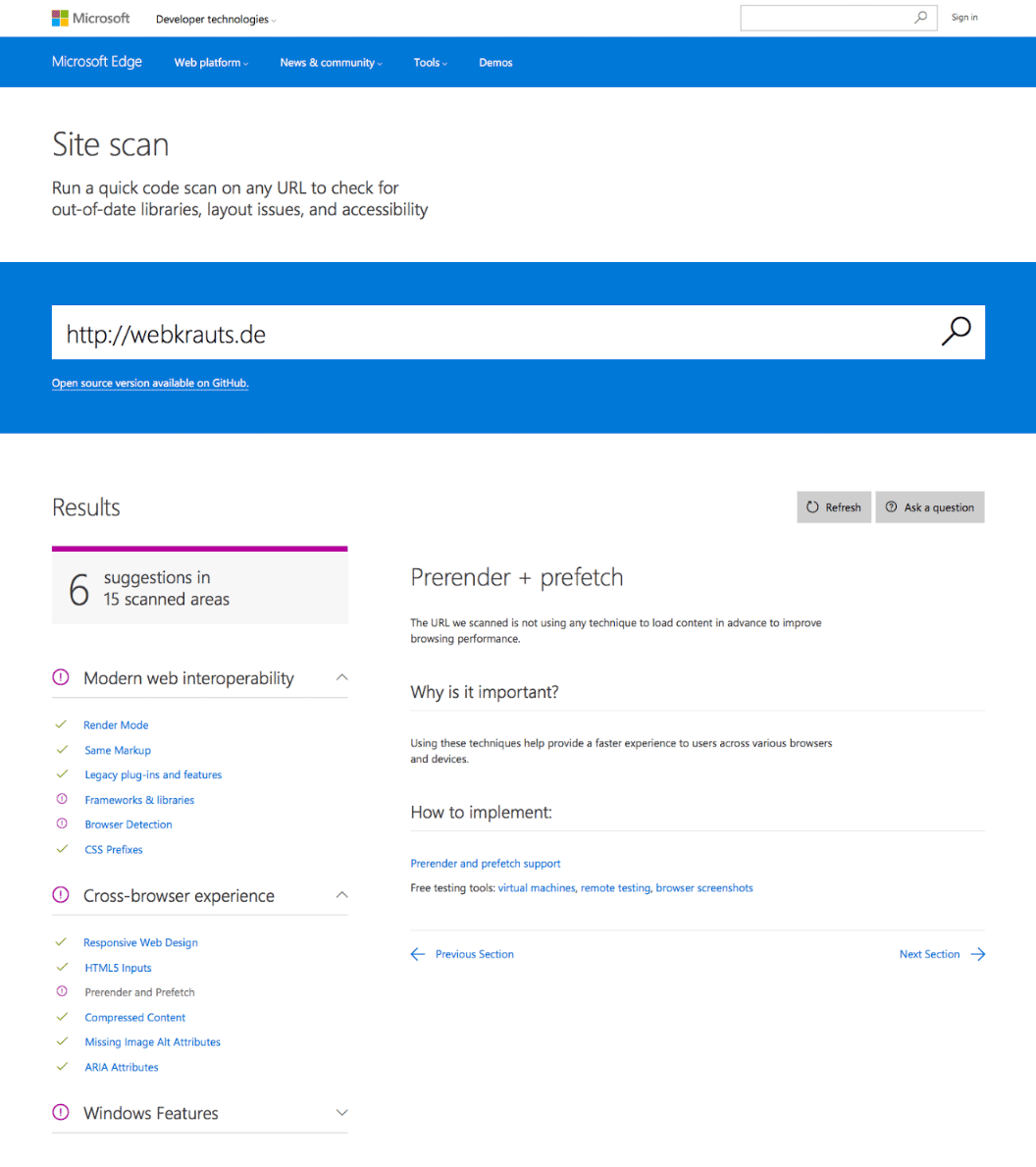 Screenshot des Microsoft Site Scanners